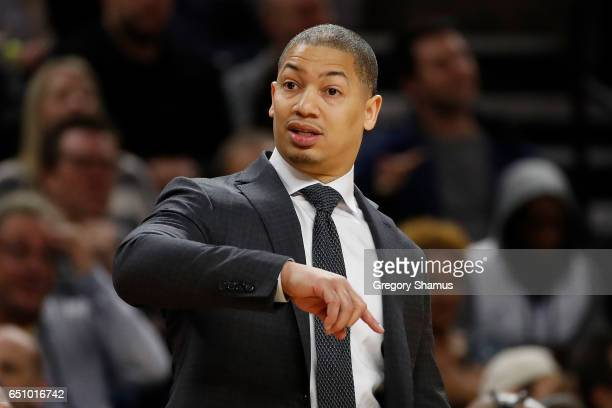 Head coach Tyronn Lue of the Cleveland Cavaliers looks on from the bench while playing the Detroit Pistons at the Palace of Auburn Hills on March 9...