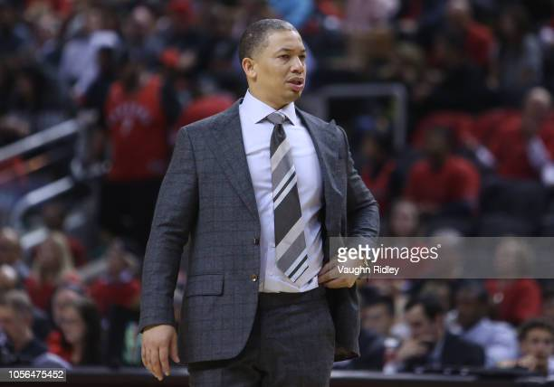 Head Coach Tyronn Lue of the Cleveland Cavaliers looks on in the second half of the NBA season opener against the Toronto Raptors at Scotiabank Arena...