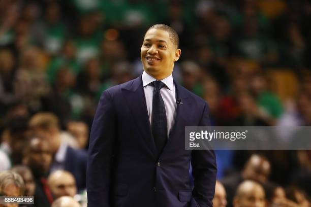 Head coach Tyronn Lue of the Cleveland Cavaliers looks on in the first half during Game Five of the 2017 NBA Eastern Conference Finals against the...