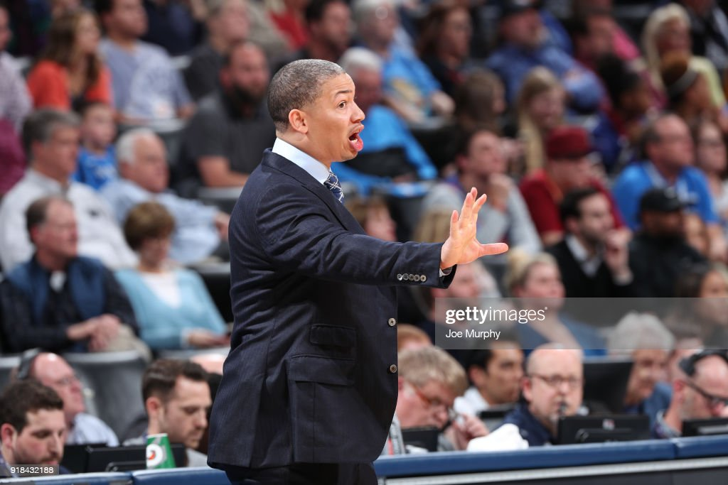 Head Coach Tyronn Lue of the Cleveland Cavaliers makes a call during the game against the Oklahoma City Thunder on February 13, 2018 at Chesapeake Energy Arena in Oklahoma City, Oklahoma.