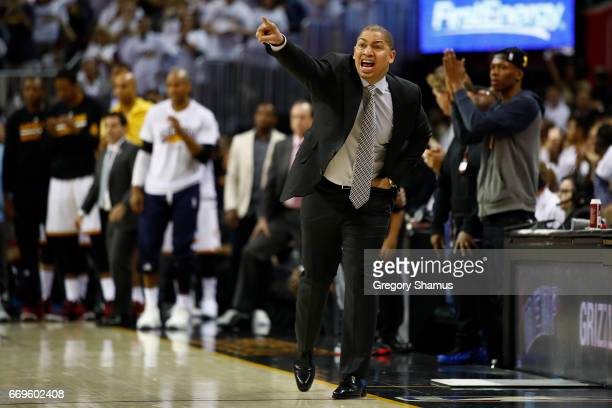 Head coach Tyronn Lue of the Cleveland Cavaliers reacts from the bench while playing the Indiana Pacers in Game Two of the Eastern Conference...