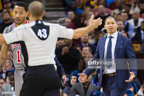 Head coach Tyronn Lue of the Cleveland Cavaliers reacts to a call from referee Dan Crawford during the first half against the Chicago Bulls at...