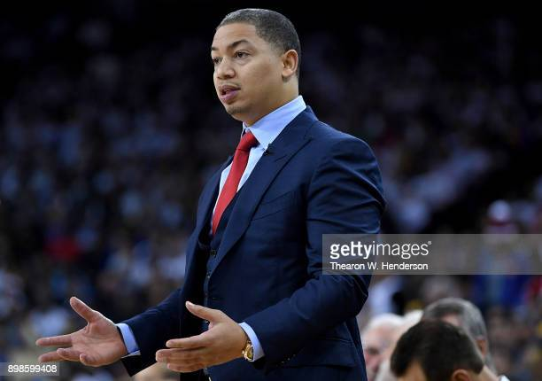 Head coach Tyronn Lue of the Cleveland Cavaliers reacts to the officiating from the referees during an NBA basketball game against the Golden State...