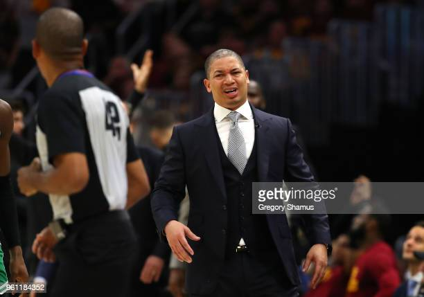 Head coach Tyronn Lue of the Cleveland Cavaliers reacts toward referee Eric Lewis in the second half against the Boston Celtics during Game Four of...