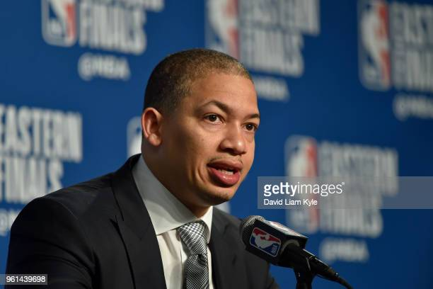 Head Coach Tyronn Lue of the Cleveland Cavaliers speaks to the media after Game Four of the Eastern Conference Finals against the Boston Celtics...