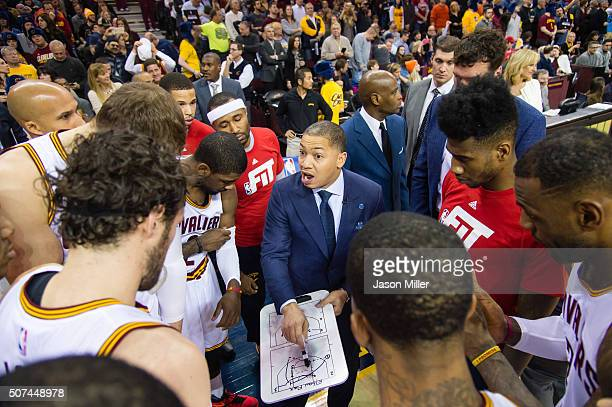 Head coach Tyronn Lue of the Cleveland Cavaliers talk to his team prior to the game against the Chicago Bulls during the first half at Quicken Loans...