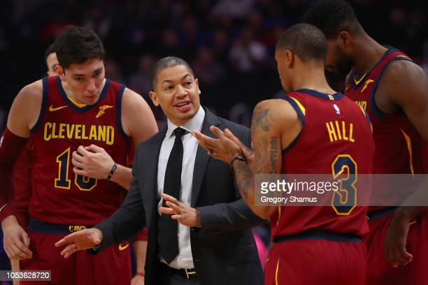 Head coach Tyronn Lue of the Cleveland Cavaliers talks with George Hill Cedi Osman and Tristan Thompson while playing the Detroit Pistons at Little...