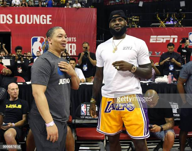 Head coach Tyronn Lue of the Cleveland Cavaliers talks with LeBron James of the Los Angeles Lakers after a quarterfinal game of the 2018 NBA Summer...
