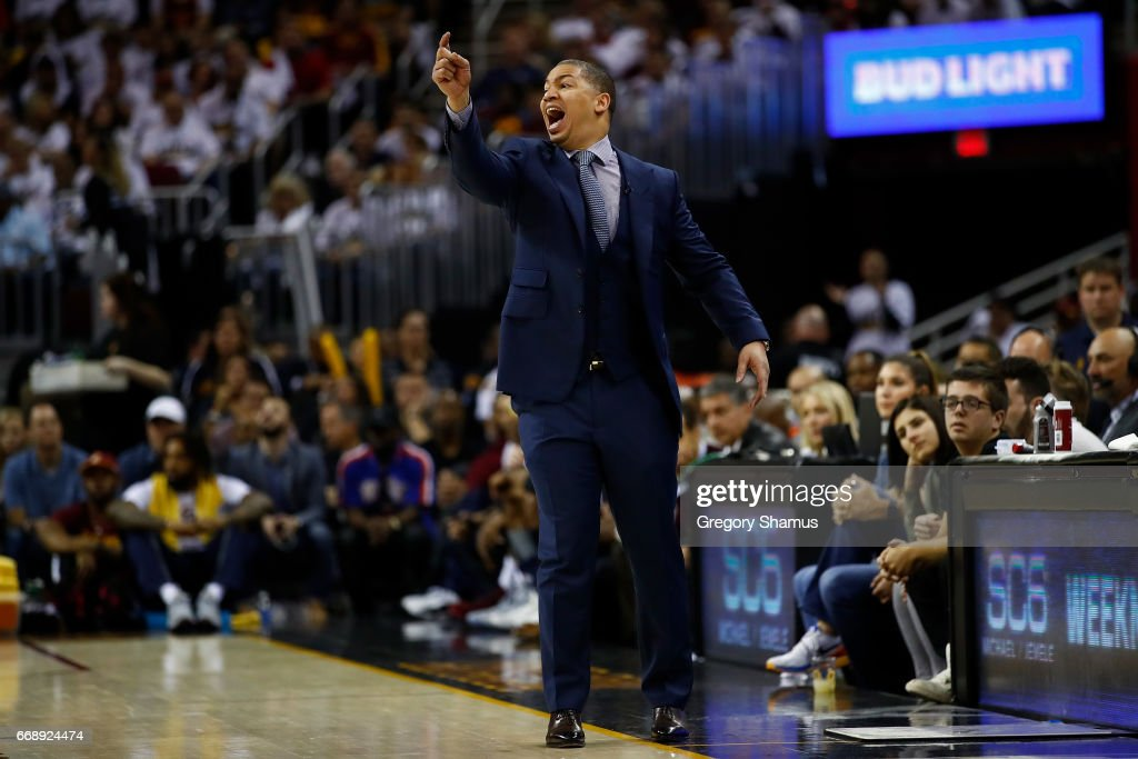 Head coach Tyronn Lue of the Cleveland Cavaliers yells from the sideline while playing the Indiana Pacers in Game One of the Eastern Conference Quarterfinals during the 2017 NBA Playoffs at Quicken Loans Arena on April 15, 2017 in Cleveland, Ohio. Cleveland won the game 109-108 to take a 1-0 series lead.