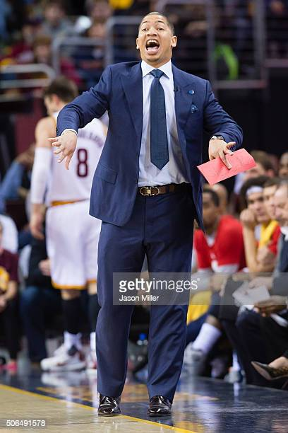 Head coach Tyronn Lue of the Cleveland Cavaliers yells to his players during the first half against the Chicago Bulls at Quicken Loans Arena on...