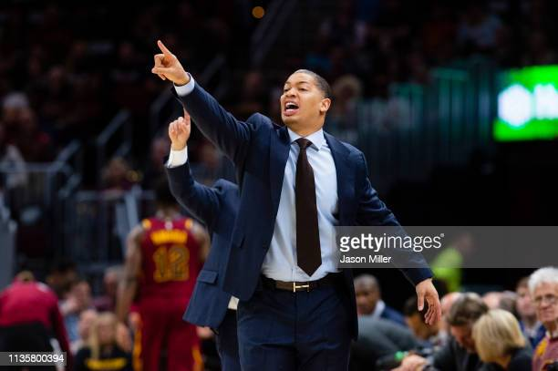Head coach Tyronn Lue of the Cleveland Cavaliers yells to his team during the first half against the Indiana Pacers at Quicken Loans Arena on October...