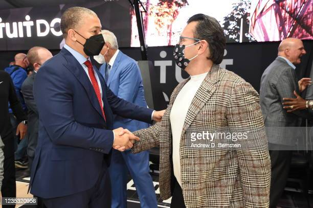 Head Coach Tyronn Lue of the Los Angeles Clippers shakes hands with CEO of Intuit Sasan K. Goodarzi during the LA Clippers ground breaking on Intuit...
