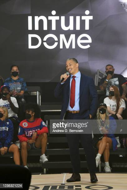 Head Coach Tyronn Lue of the Los Angeles Clippers speaks during the ground breaking on Intuit Dome on September 17, 2021 in Inglewood, California....