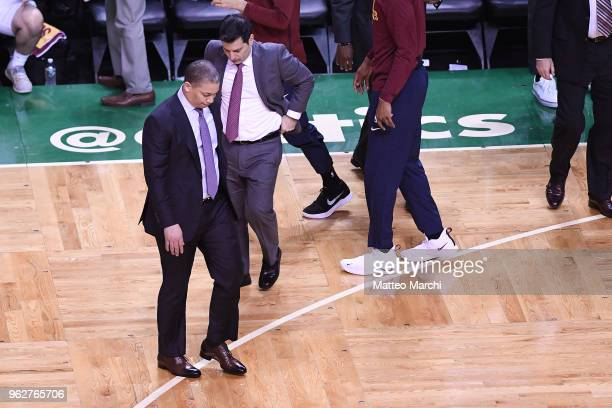 Head Coach Tyronne Lue of the Cleveland Cavaliers reacts during the game against the Boston Celtics on Game Five of the 2018 NBA Eastern Conference...