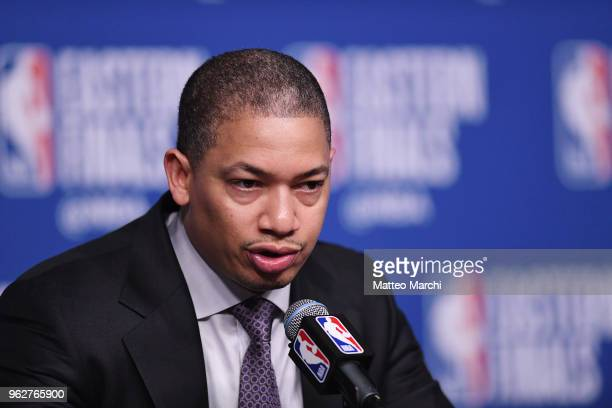 Head Coach Tyronne Lue of the Cleveland Cavaliers talks to the media following Game Five of the 2018 NBA Eastern Conference Finals against the Boston...