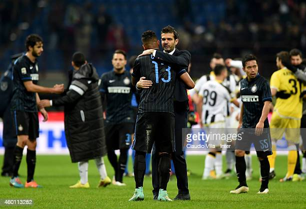 Head coach Udinese Calcio Andrea Stramaccioni and Fredy Guarin after the Serie A match between FC Internazionale Milano and Udinese Calcio at Stadio...