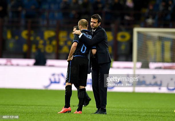 Head coach Udinese Calcio Andrea Stramaccioni and Rodrigo Palacio after the Serie A match between FC Internazionale Milano and Udinese Calcio at...