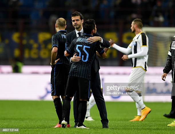 Head coach Udinese Calcio Andrea Stramaccioni and Yuto Nagatomo after the Serie A match between FC Internazionale Milano and Udinese Calcio at Stadio...