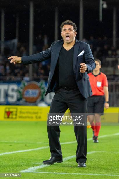 Head Coach Uli Forte of Grasshopper Club Zurich react during the Challenge League game between FC Lausanne-Sport and Grasshopper Club Zurich at Stade...