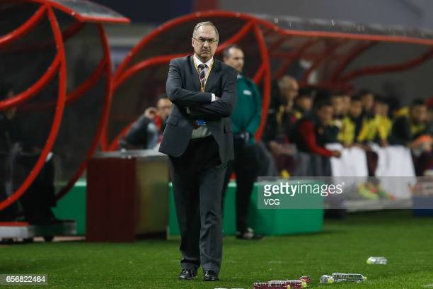 Head coach Uli Stielike of South Korea reacts during the 2018 FIFA World Cup Qualifying group match between China and South Korea at Helong Stadium...