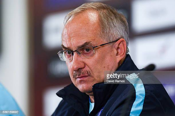 Head coach Ulrich Stielike of Korea faces the media during a press conference before a training session at the Red Bull Arena stadium on May 31 2016...