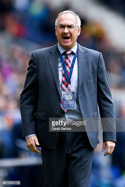 Head coach Ulrich Stielike of Korea reacts during an international friendly match between Spain and Korea at the Red Bull Arena stadium on June 1...