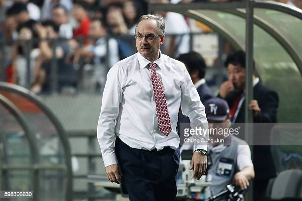 Head coach Ulrich Stielike of South Korea looks on during the 2018 FIFA World Cup Qualifier Final Round Group A match between South Korea and China...