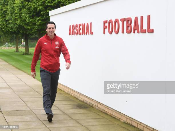 Head Coach Unai Emery at the Arsenal Training Ground at London Colney on May 24, 2018 in St Albans, England.