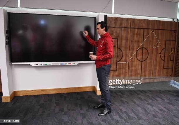 Head Coach Unai Emery at the Arsenal Training Ground at London Colney on May 24 2018 in St Albans England