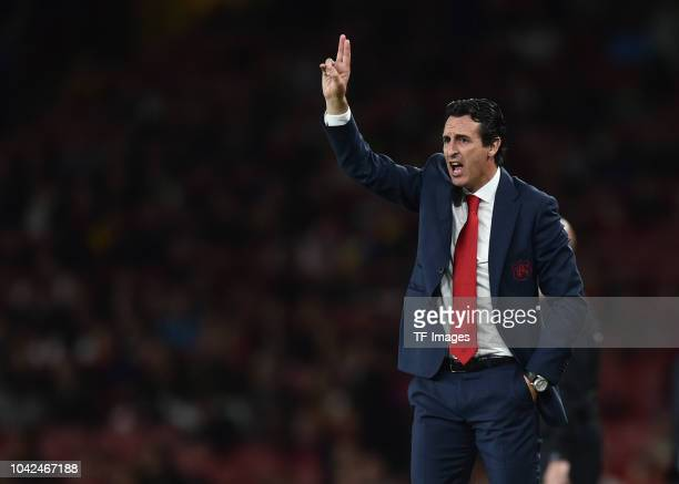 Head coach Unai Emery of Arsenal gestures during the UEFA Europa League Group E match between Arsenal and Vorskla Poltava at Emirates Stadium on...