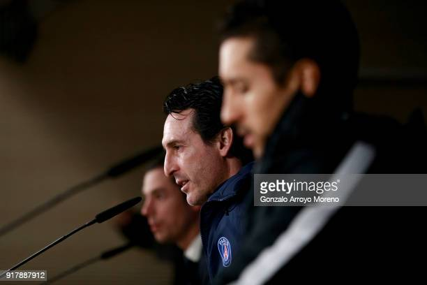 Head coach Unai Emery of Paris SaintGermain Football Club attends a press conference at Estadio Santiago Bernabeu ahead their Round of 16 first leg...