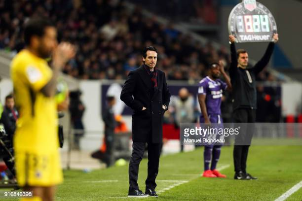Head coach Unai Emery of Paris SG during the Ligue 1 match between Toulouse and Paris Saint Germain at Stadium Municipal on February 10 2018 in...