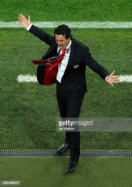 Head Coach Unai Emery of Sevilla reacts during the UEFA Europa League Final match between Sevilla FC and SL Benfica at Juventus Stadium on May 14...