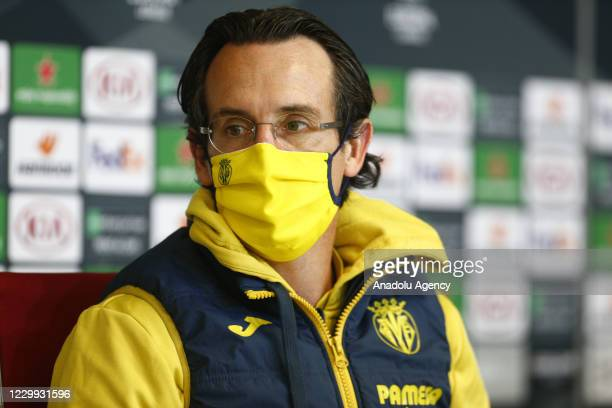 Head coach Unai Emery of Villarreal speaks during a press conference following UEFA Europa League Group I match between Demir Grup Sivasspor and...