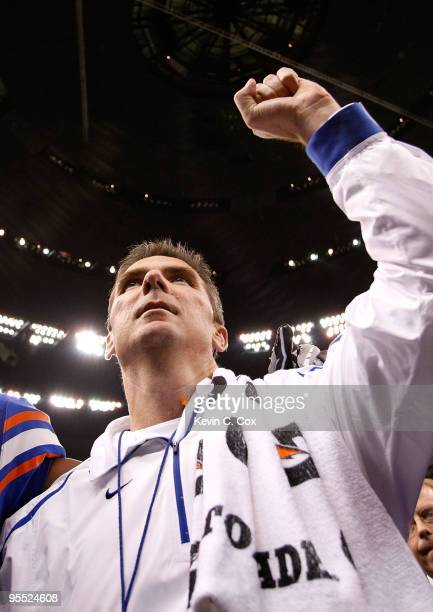Head coach Urban Meyer of the Florida Gators celebrates after defeating the Cincinnati Bearcats 2451 during the Allstate Sugar Bowl at the Louisana...