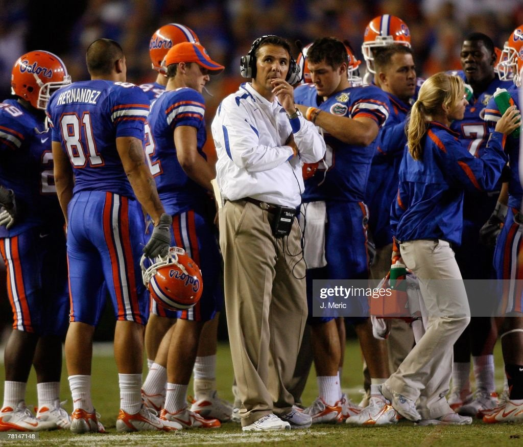 Head Coach Urban Meyer of the Florida Gators directs his team during the game against the Florida State Seminoles on November 24, 2007 at Ben Hill Griffin Stadium at Florida Field in Gainesville, Florida.