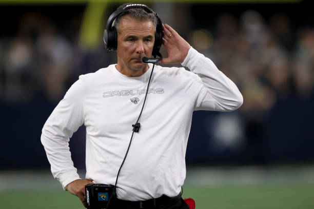 Head coach Urban Meyer of the Jacksonville Jaguars looks on as the Jacksonville Jaguars take on the Dallas Cowboys during the second quarter of a NFL...
