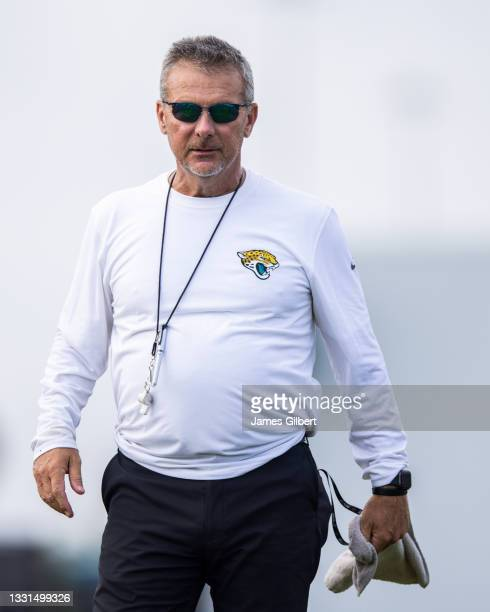 Head coach Urban Meyer of the Jacksonville Jaguars looks on during Training Camp at TIAA Bank Field on July 30, 2021 in Jacksonville, Florida.
