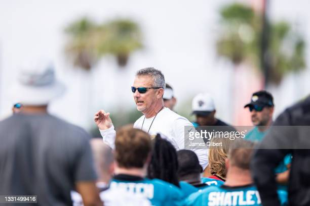 Head coach Urban Meyer of the Jacksonville Jaguars speaks to his team during Training Camp at TIAA Bank Field on July 30, 2021 in Jacksonville,...