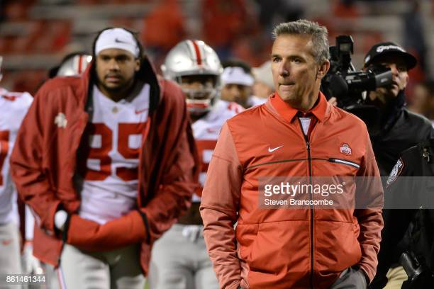 Head coach Urban Meyer of the Ohio State Buckeyes leaves the field after the win against the Nebraska Cornhuskers at Memorial Stadium on October 14...