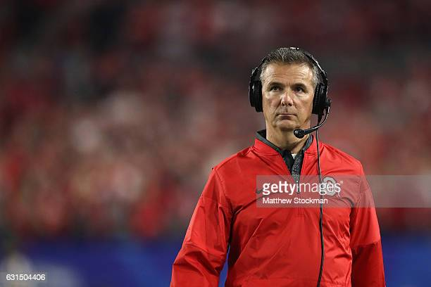 Head coach Urban Meyer of the Ohio State Buckeyes looks on against the Clemson Tigers during the 2016 PlayStation Fiesta Bowl at University of...