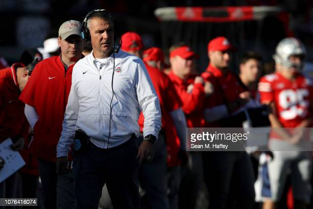 Head coach Urban Meyer of the Ohio State Buckeyes reacts in the first half while taking on the Washington Huskies in the Rose Bowl Game presented by...