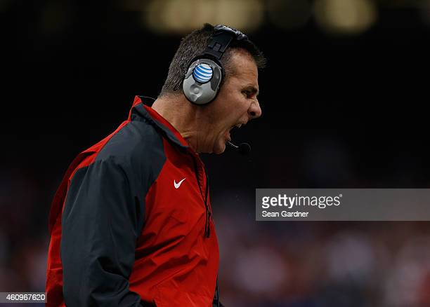 Head coach Urban Meyer of the Ohio State Buckeyes shouts on the sidelines against the Alabama Crimson Tide during the All State Sugar Bowl at the...