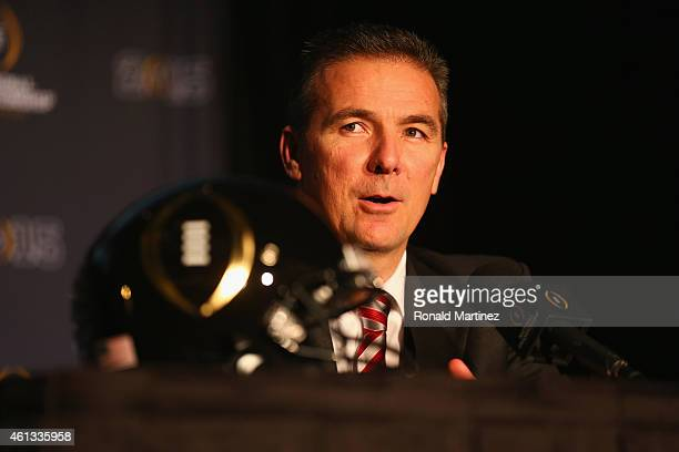 Head coach Urban Meyer of the Ohio State Buckeyes speaks with the media during a Head Coaches press conference at the Renaissance Dallas Hotel on...