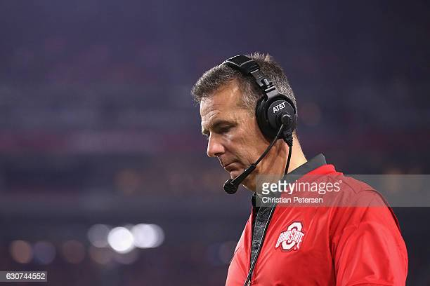 Head coach Urban Meyer of the Ohio State Buckeyes watches the action during the second half of the 2016 PlayStation Fiesta Bowl against the Clemson...
