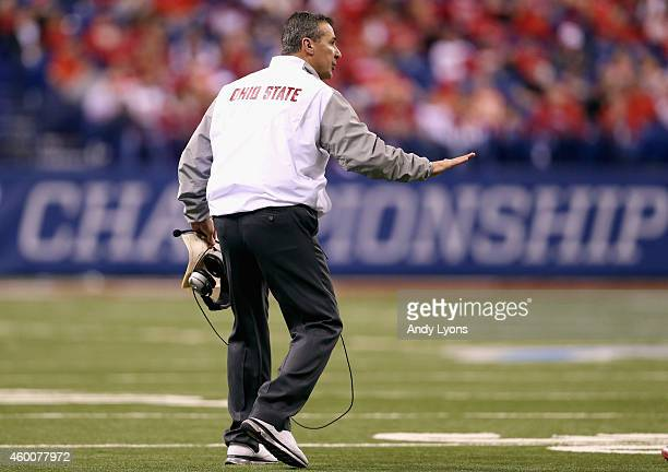 Head coach Urban Meyer watches his team from the sidelines during the fourth quarter of the Big Ten Championship against the Wisconsin Badgers at...
