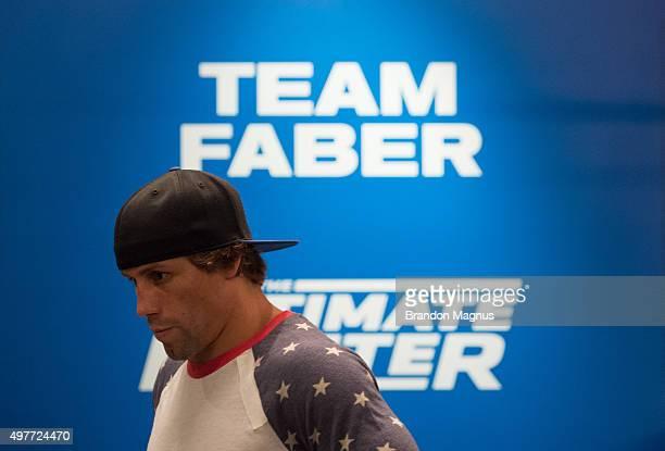 Head coach Urijah Faber helps James Jenkins warm up before facing Artem Lobov during the filming of The Ultimate Fighter Team McGregor vs Team Faber...