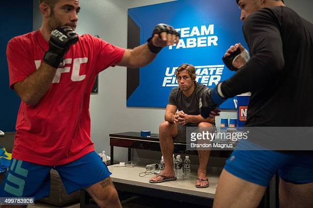 Head coach Urijah Faber watches as Julian Erosa warms up before facing Abner Lloveras during the filming of The Ultimate Fighter Team McGregor vs...