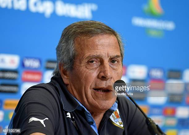 Head coach Uruguay Oscar Tabarez reacts during press conference at the Dunas Arena in Natal on June 23 2014 in Natal Brazil