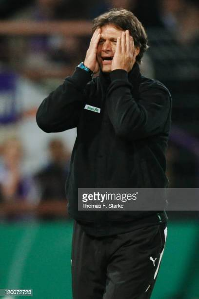 Head coach Uwe Fuchs of Osnabrueck reacts during the first round match of the DFB Cup between VfL Osnabrueck and TSV 1860 Muenchen at the osnatel...
